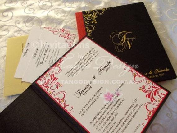 Fabric Wedding Invitations: Fabric Wedding Invitations Pocket SAMPLE By InvitationsbyTango