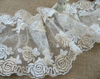 """5 3/8"""" light beige embroidered tulle net lace - 2yd"""