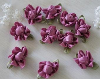 mauve Satin Ribbon Flower Appliques -35pcs