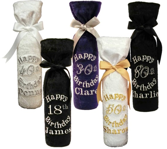 Birthday personalised wine bottle gift bag. Pefect for 18th
