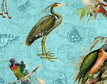Exotic Plumage Fabric Tropical Travelogue by Graphic 45 for Wilmington Prints 85537 473W Teal - Remnant 21 Inch