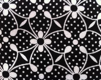 Geometric Floral Fabric - Fun Flowers III Fretwork Silhouette Lattice for Lakehouse Fabrics 10014 Black & White - 1/2 yard