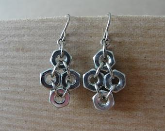 Hex Nut Industrial Style Earrings