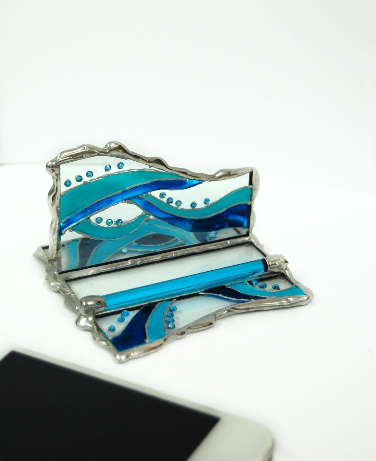 Stained glass iphone stand desk organizer card by glassgadgets - Glass desk organizer ...