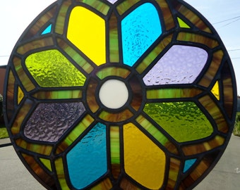 Stained Glass Panel 'Rose Window'
