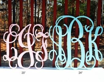 24'' Custom Wood Monogram in Vine Font,Wooden wall monogram