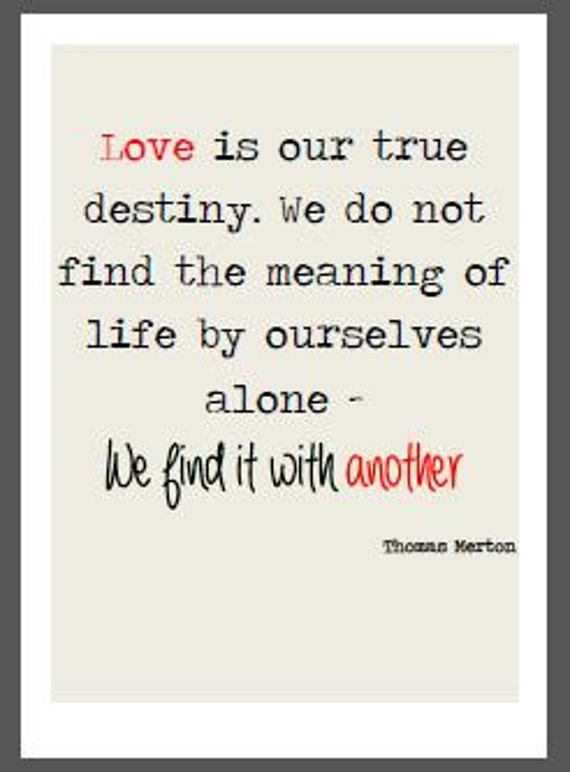 Quotes About True Love And Fate: Items Similar To Love Is Our True Destiny