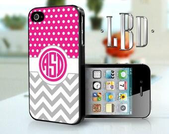 iPhone 4 4s Case - Custom Monogram Polka Dots Chevron Pink and Grey  iP4