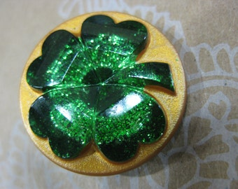 Lucky Green Four Leaf Clover 3D Czech Glass Button 27mm