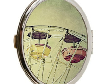 Ferris Wheel Photo Compact Mirror, Double Sided Mirror, Silver Compact, Carnival Photo