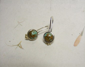 Silver earrings with turquoise and 14kt yellow gold