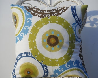 Medallion Pillow Cover, Pillow Case, Cushion Cover, Indoor/Outdoor Pillow, Brown/Green/Blue, 18'' Pillow Cover, Sun/Shade Pillow Cover