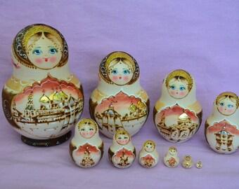 Russian matryoshka 10 pcs  wood burned nesting dolls Sergiev Posad authentic handmade