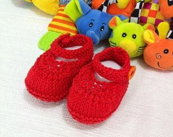 Red Baby Shoes Orange buttons