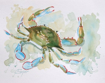Fine art print of blue crab watercolor painting by Patrick Soper