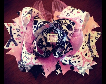 Over the Top pink and black boutique Paris bow