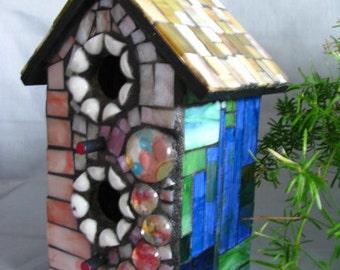 Spring Mosaic Jeweled Birdhouse