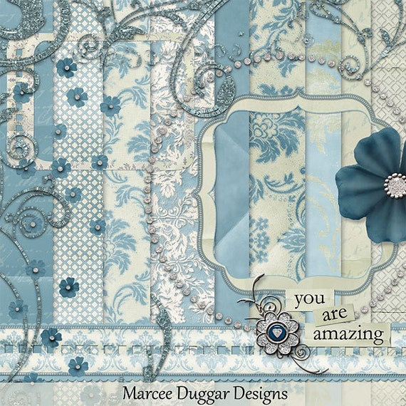 Kinzee Blue Digital Scrapbook Kit