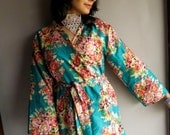 C2 Teal Floral Kimono Crossover kneelength Robe - Getting ready bridal robe, Spa robe, wedding favors, Bridal Shower, bridesmaids gifts