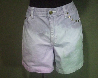 High Waisted Studded Denim Shorts Dip Dyed Pastel Green, Pink, and & Purple Shorts Size 10