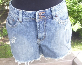 Distressed Studded Shorts Destroyed Cutoff Frayed Denim Blue Jean Shorts Size 8 - Faded Glory