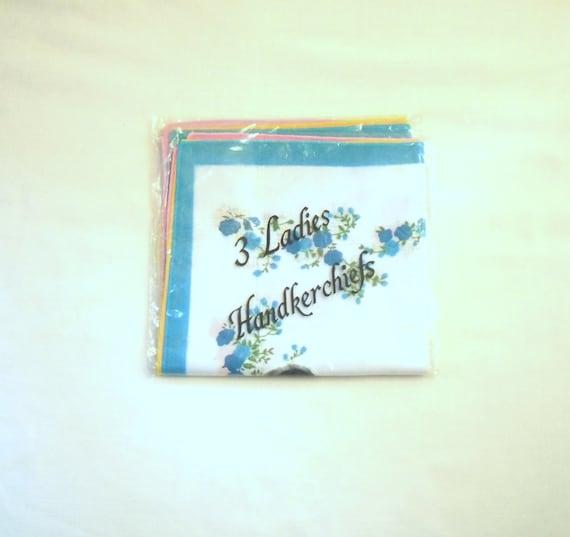 Three Vintage Floral Patterned Handkerchiefs in Original Packaging