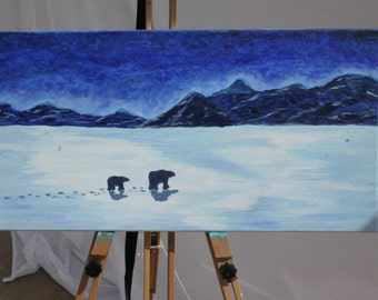 Polar bears, 60x30 acrylic on canvas