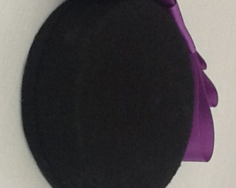 Black Pillbox Hat with Purple Bow Detail