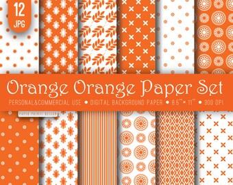 8.5 x 11 Orange White Digital Paper, 8.5 x 11 print, flourish paper, summer paper, orange white, orange white paper, background, printable