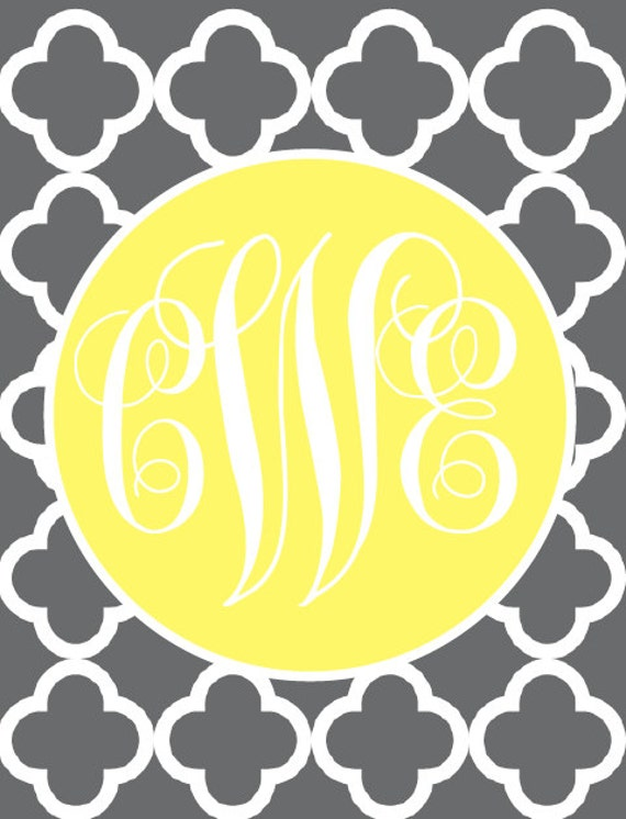 items similar to monogram binder cover insert or frame insert gray and yellow on etsy