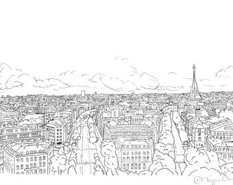 Paris City Sketch, A4 print