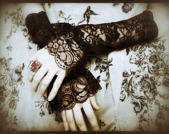 Black Widow Steampunk Fingerless Gloves -Long Gothic Lolita Arm Warmer Cuffs in Black Lace-Evening Wedding Gauntlets-EGL Dark Emo Vampire