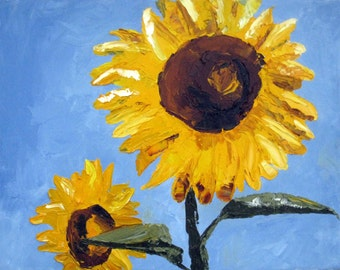 SALE - Sunflower, Original Oil Painting, Still Life, Floral, 11 x 14 inches, palette knife painting, oil on canvas, Wall Decor