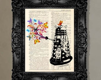 """Dictionary Page Print: """"Dalek with Butterfly Ray"""" - up-cycled vintage book page, Geek gift, Doctor Who Fans, Dalek art"""