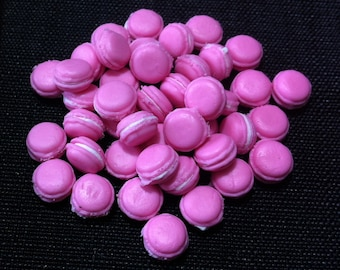 20 Miniature Pink Macaroons Clay Polymer Cookies Cakes Biscuits Cute Little Small Dollhouse Bakery Fimo Food Jewelry Decor Supplies 1/12