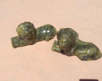 Soapstone, Lions, lot of 2, hand carved, green ,soap stone lions, pair