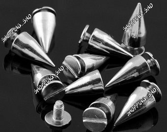 Wholesale Cone Bullet Silver Studs and spikes Metal 13mm  FREE SHIPPING Worldwide for leather clothing