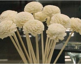Flower with rattan reed stick - Replacement handmade wood flower for home fragrance diffuser