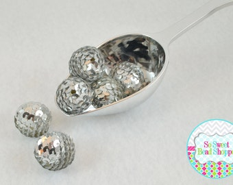 22mm Acrylic Sequin Beads, 6ct, Silver, Gumball Beads, Round