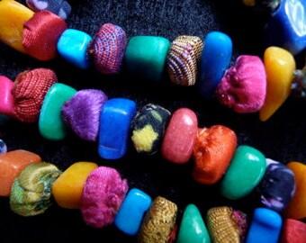 Necklace - fabric - multicolor