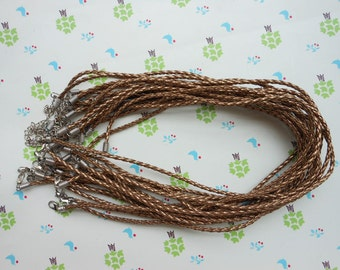 SALE 40pcs 16-18inch 3mm coffe faux braided leather necklace with 2 inch extension chain