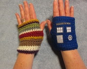 Dr. WHO Fingerless Gloves - TARDIS and 4th DOCTOR (Tom Baker) style - GeekierThanThou
