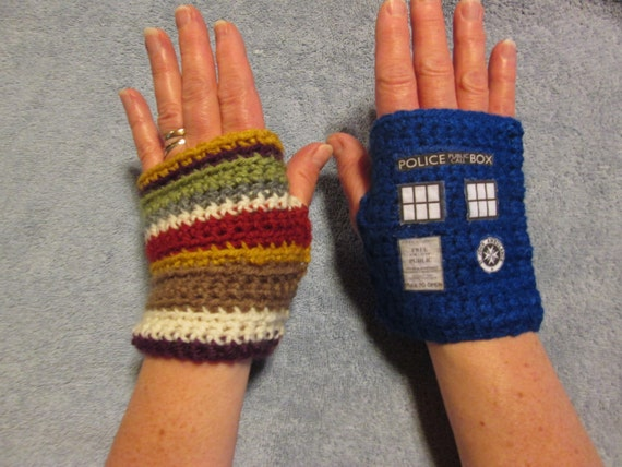 Dr. WHO Fingerless Gloves - TARDIS and 4th DOCTOR (Tom Baker) style