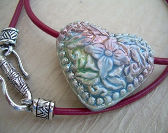 Leather Necklace, Heart Pendant , Womens Necklace, Womens Jewelry, Pendant