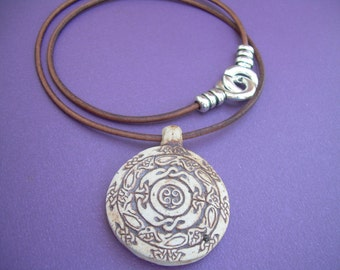 Leather Necklace, Celtic Pendant , Mens Necklace, Womens Necklace, Womens Jewelry, Mens Jewelry