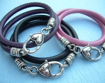 Womens Leather  Bracelet, Double Wrap, Stitched Nappa Leather, Heart Clasp, Womens Bracelet, Womens Jewelry