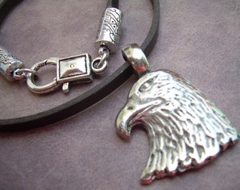 Eagle Pendant on a Leather Necklace, Mens Necklace, Mens Jewelry, Mens Gift, Pendant, Leather Jewelry, Mens Leather Necklace, Mens Gift