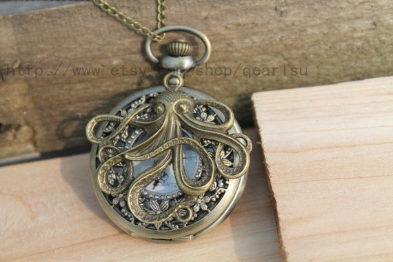 the octopus pocket watch necklace antique steampunk jewelry friendship vintage style