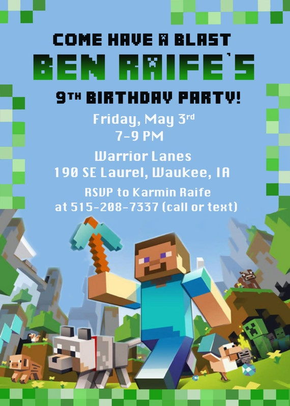 Minecraft Birthday Party Invitation Digital by FunPartyPrints
