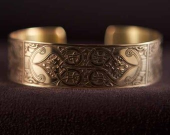 Celtic Art Cuff Etched in Brass from The Macregol Gospels, Handmade in Scotland.